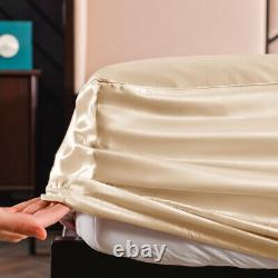 100% Mulberry Silk Fitted Sheet 19 Momme Deep Pocket Pure Silk Bed Bottom Sheets