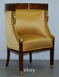 1870 French Empire Marquetry Inlaid Suite Pair Berger Armchairs & Settee Canape