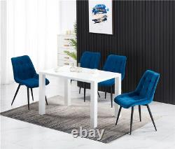 2/4PCS Dining Chairs Set Velvet Padded Seat Metal Legs Kitchen Chair Home Office