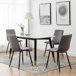 2/4/6 Dining Chairs Set Velvet Padded Seat Metal Legs Kitchen Chair Home Office