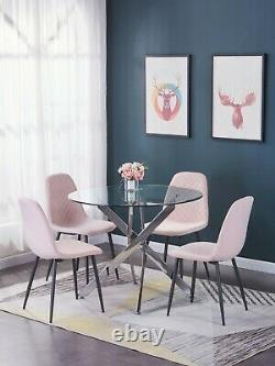 2 4 Dining Chairs Set Velvet Padded Seat Metal Legs Kitchen Chair Home Office