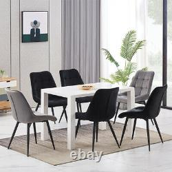2 4 Dining Chairs Set Velvet Padded Seat Metal Legs Kitchen Dining Room Office