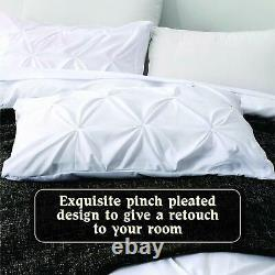 3 PC Pinch Pleated Duvet Set All Sizes 1000 TC Egyptian Cotton Solid Colors