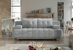 3-Seater Sofa Bed with Storage Fabric New Modern Sleep Function HONEY