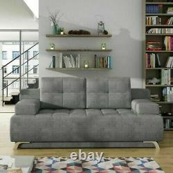 3-Seater Sofa Bed with Storage Fabric New Modern Sleep Function OSLO W