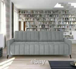 3-Seater Sofa Bed with Storage Fabric Springs New Modern Sleep Function MOLLY