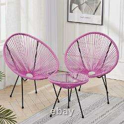 3pcs Bistro Egg Shaped String Chairs Coffee Tea Table Set Indoor Outdoor Garden