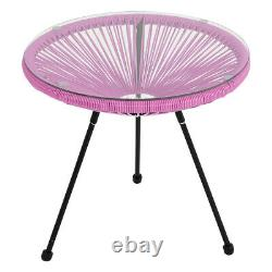 3pcs Rattan Bistro Set String Chairs Glass Table Outdoor Patio Garden Furniture