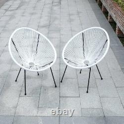 3x Rattan String Chairs Glass Table Set Egg Shaped Round Garden Patio Furniture