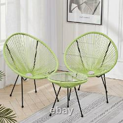 3x Rattan String Chairs Glass Table Set Moon Egg Modern Furniture Indoor Outdoor