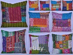 50 PC Wholesale Lot Indian Cushion Cover Silk Kantha Stitched Pillow Cover Decor