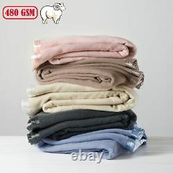 5 Color Choice Bianca 480gsm Australian Wool Blanket ALL SIZES