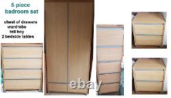 5 Piece Bedroom Furniture Set Wardrobe, tall boy, Chest Drawers 2 Bedside Tables