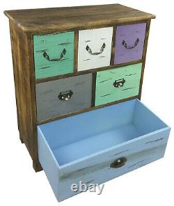 69cm Free Standing Solid Wooden Storage Cabinet Chest Of 6 Drawers Bedroom