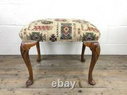 Antique Walnut Stool with Fabric Seat (M-590b) FREE DELIVERY