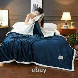 Bed Double-layer Soft Solid Bed Weighted Blanket Thicken Blue Pink UK King Size
