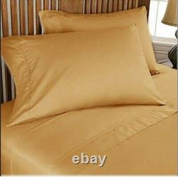 Bedding Sheet Collection Choose Item Egyptian Cotton Gold Solid UK Sizes