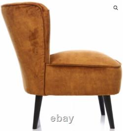 Brand New Wilby Tumeric Colour Accent Chair Soft Fabric Solid Wood Legs Bedroom