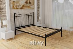 Brixton Extra Strong Wrought Iron Bed Frame with Solid Slats 5 Years Guarantee