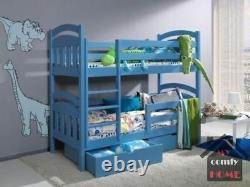 Bunk Bed JAC 2 MATTRESSES Double Childrens Sleeper Drawers Solid Wood 24 Colours