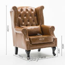 Chesterfield Retro Studded Wing Back Leather Armchair Queen Anne Fireside Chair