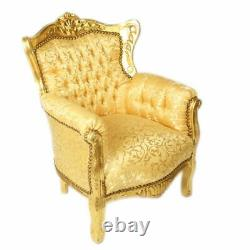 Children Baroque Style Armchair Gold / Gold # Mb65