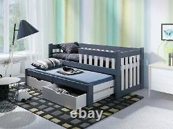 Children Single Bed with Trundle Pull Out Mattress Drawers Wood 24 Colours NEW