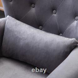 Contemporary Tufted Armchair Wing Chairs Rolled Armrest with Pillow Home Lounge