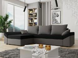 Corner Sofa Bed DANTE L with Storage Container Universal Corner Side Springs New