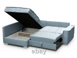 Corner Sofa Bed RALF Storage Container Sleep Function Fabric Springs New