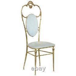 Exquisite Original 1930's Chiavari Hollywood Regency Brass Occasional Side Chair
