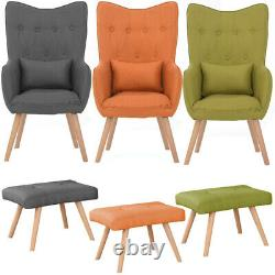 Fabric Linen Button Armchair Upholstered Accent Tub Chair Cushion Sofa Footstool