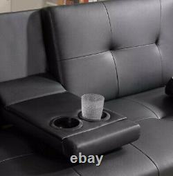 Faux Black Leather Sofa Bed 3 Seater Cup Holder Recliner Settee Couch Sofa