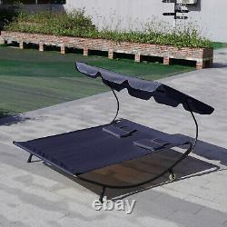 Garden Sun Lounger Day Bed Patio Double Hammock Canopy Shade with Metal Stand UK