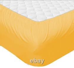 Glorious Bedding Lot of 2 Qty Gold Solid 6 PCs Sheet Set UK Emperor Size