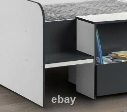 Grey and White Wooden Kids Low Sleeper Cabin Storage Bed Frame 3ft Single