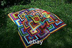 Hand Made Quilt FREE YOUR SCRAPS Design by Quilt-Addicts 82 square