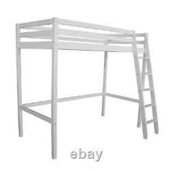 High Tall Sleeper Cabin Bunk Bed with Ladder Kids Solid Wooden Pine Bedroom Loft
