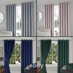 INTERLINED Thermal Velour Eyelet / Ring Top Pair Of Luxury Ready Made Curtains