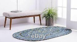 Indian Cotton Natural 5x8 feet Handmade Vintage beautiful Oval Shaped rag rugs