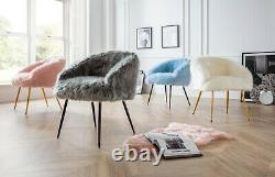 Ivy Faux Fur Accent Chairs for Living Room Pink Upholstered Bedroom Vanity Seat