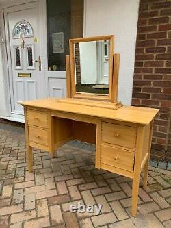 John Lewis Solid Oak Pedestal Dressing Table With 4 Drawers&mirror, Well Made