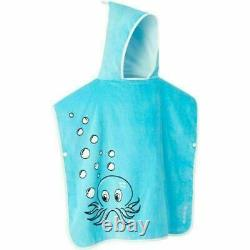 KIDS 100% Cotton Hooded Poncho Beach Bath Towel Colour octopus blue FOR AGE 2-5