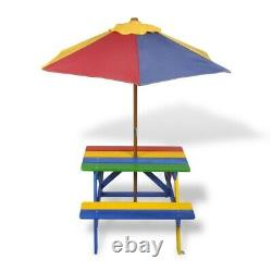 Kids Multicolored Picnic Table with Benches and Parasol Wood Outdoor Garden Fun