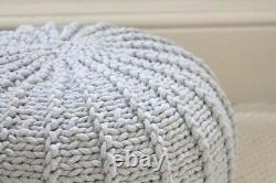 Knitted Footstool, Crochet Pouf Ottoman, grey Knotted Pouf