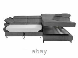 L-shaped Corner Sofa Bed FABIAN Springs Storage Container Sleep Function Modern