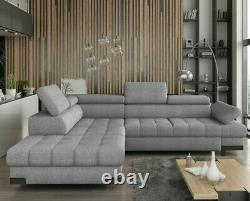 L-shaped Corner Sofa Bed SELVA L Springs Storage Container Sleep Function Modern