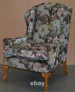 Large Claw & Ball Feet Sinclair Matthews Floral Upholstered Wingback Armchair