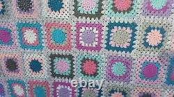 Large pinks blues greys and white multi coloured Granny Squares Crochet blanket