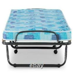 Linon Roma Folding Rollaway Guest Bed with 4 Foam Mattress, Cot